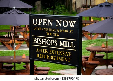 Salisbury, Wiltshire, England - May 11, 2019: Bishops Mill public house, formally The Mill, reopens over one year after the Novichok nerve agent poisonings by Russia