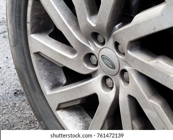 Salisbury, Wiltshire, England - November 22, 2017: Jaguar Land Rover alloy wheel on four wheel drive vehicle, company acquired by Tata Motors in 2008