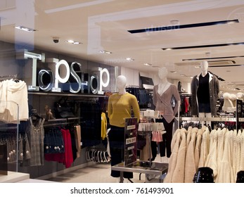 Salisbury, Wiltshire, England - November 22, 2017: Topshop ladies high street fashion store, company part of the Arcadia Group owned by Sir Philip Nigel Ross Green