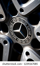 Salisbury, Wiltshire, England - October 21, 2017: Mercedes Benz alloy wheel on car, global automobile marque and a division of the German company Daimler AG
