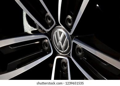 Salisbury, Wiltshire, England - October 21, 2017: Volkswagen group alloy wheel on car, originally established in 1932 by the German Labour Front in Berlin