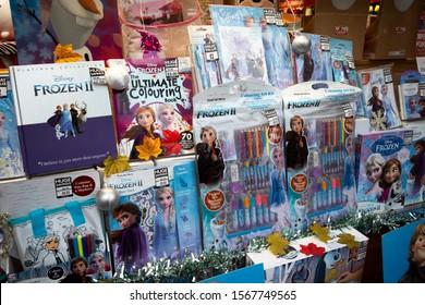 Salisbury, Wiltshire, England - October 25, 2019: Frozen 2 merchandise displayed in shop window, animated film by Walt Disney
