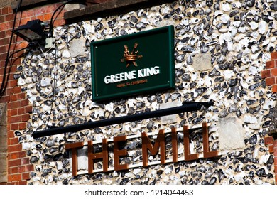 Salisbury, Wiltshire, England - October 27, 2018: The Mill Greene King public house and restaurant, closed due to the Novichok nerve agent attack on Sergei and Yulia Skripal