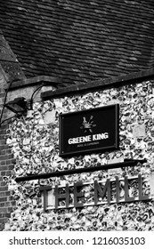 Salisbury, Wiltshire, England - October 27, 2018: monochrome The Mill Greene King public house and restaurant, closed due to the Novichok nerve agent attack on Sergei and Yulia Skripal