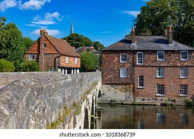 Salisbury Wiltshire England September 9, 2016 Old buildings beside the River Avon at Salisbury