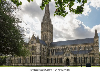 Salisbury Wiltshire UK 13th AUGUST 2019 Salisbury Cathedral on a beautiful summer's day