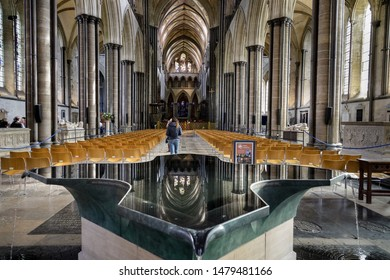 Salisbury Wiltshire UK 13th AUGUST 2019 Interior of Salisbury Cathedral