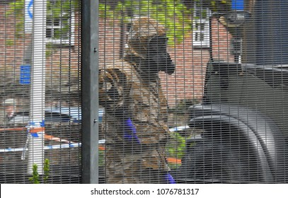 Salisbury, Wiltshire, UK. April 25 2018. Decontamination work being undertaken in the area where Sergei and Yulia Skripal were found poisoned and unconscious on a bench in Salisbury England