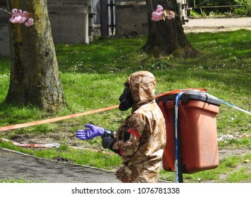 Salisbury, Wiltshire, UK. April 25 2018. Novichok decontamination work being undertaken in the area where Sergei and Yulia Skripal were found poisoned and unconscious in Salisbury England