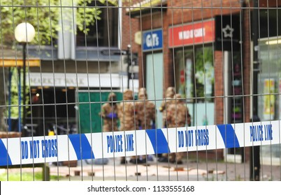 Salisbury, Wiltshire, UK. April 25 2018. Novichok decontamination work being undertaken in the cordoned off shopping area where Sergei and Yulia Skripal were found poisoned and unconscious