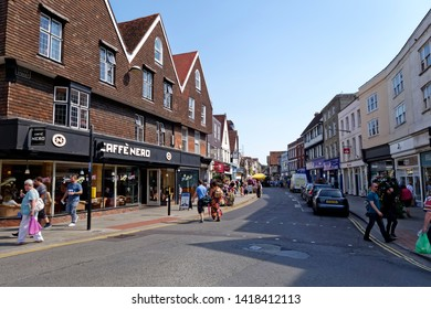 Salisbury, Wiltshire / UK - August 27 2013: Silver Street, Salisbury, Wiltshire, United Kingdom.