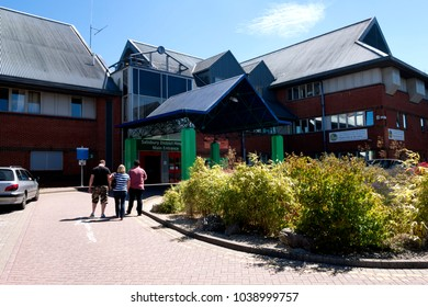 Salisbury, Wiltshire, UK- July 03, 2014:The main entrance to Salisbury District Hospital, Wiltshire, United Kingdom.