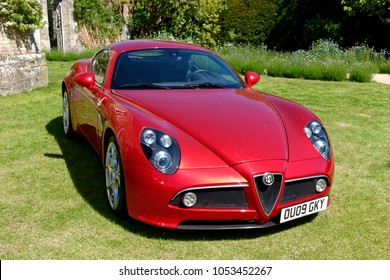 Salisbury, Wiltshire, UK - June 7, 2015: An Alfa Romeo 8C Competizione Sports Coupe at a car show