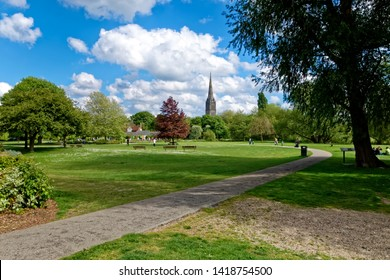 Salisbury, Wiltshire / UK - May 13 2017: Salisbury Cathedral seen from the Queen Elizabeth Gardens