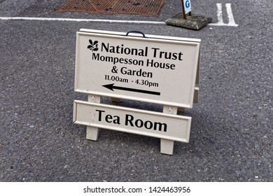 Salisbury, Wiltshire / UK - May 13 2017: A National Trust Mompesson House & Garden sign in Choristers Square, Salisbury, Wiltshire, United Kingdom