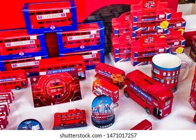 Salisbury, Wiltshire / UK - May 13 2017: Model London buses on display in a shop window in High Street, Salisbury, Wiltshire, United Kingdom