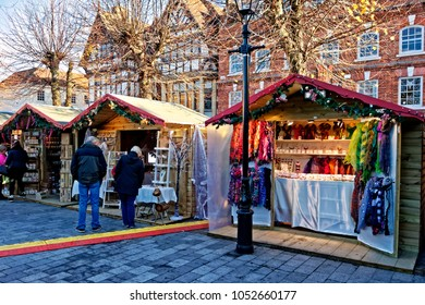 Salisbury, Wiltshire, UK - November 26, 2015: Shoppers at the christmas market