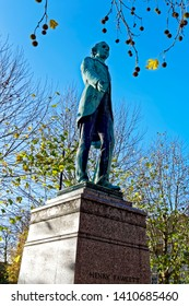 Salisbury, Wiltshire / UK - November 26 2015: A Statue of the Salisbury born politician and economist Henry Fawcett (1833-1884) in Salisbury Market Square, Wiltshire, England