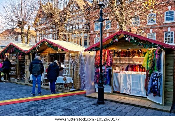Salisbury, Wiltshire, UK - November 26, 2015: Shoppers at the christmas market
