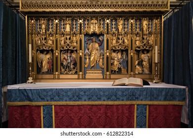 SALISBURY, WILTSHIRE/UK - MARCH 21 : The Chapel of Saint Michael the Archangel in Salisbury Cathedral in Salisbury Wiltshire on March 21, 2017