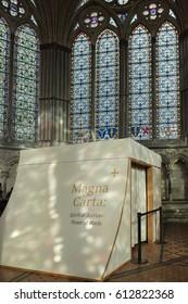 SALISBURY, WILTSHIRE/UK - MARCH 21 : Magna Carta in Salisbury Cathedral in Salisbury Wiltshire on March 21, 2017