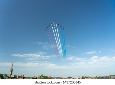 Salisbury,Wiltshire /England 06/29/19 Red Arrows fly past Salisbury Army Day