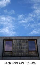 Salk Institute blue cloudy sky abstract, San Diego (La Jolla)