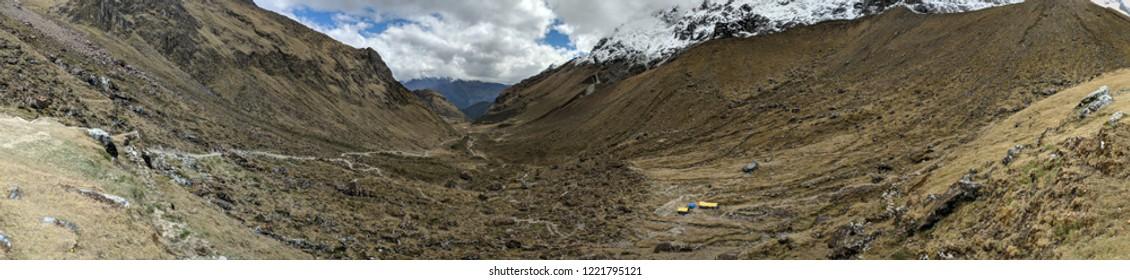 Salkantay glacier ascent panorama