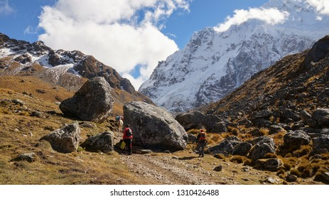 Salkantay Trek Landscapes on the way to the ancient Inca Town of Machu Picchu in the Andes mountains near Cusco, Peru.