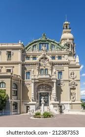 Salle Garnier, home of the Opera de Monte-Carlo- part of Monte Carlo Casino (architect Charles Garnier opened in 1879). Monte Carlo, Monaco. Architectural Detail of building.