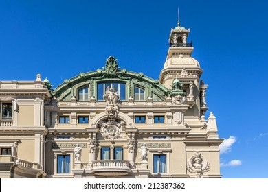 Salle Garnier, home of the Opera de Monte-Carlo- part of Monte Carlo Casino (architect Charles Garnier opened in 1879). Monte Carlo, Monaco. Architectural Detail of building.