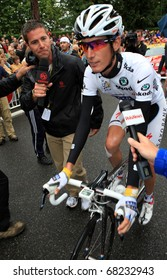 SALLES DE BEARN - JULY 23: Cyclist Andy Schleck is giving interview before start of 18 stage of Tour de France 2010, July 23, 2010 Tour de France in Salies de Bearn.