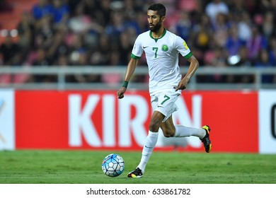 Salman Al-Faraj of Saudi Arabia in action during 2018 FIFA World Cup Qualifier Group B between Thailand and Saudi Arabia at the Rajamangala Stadium on March 23, 2017 in Bangkok,Thailand,