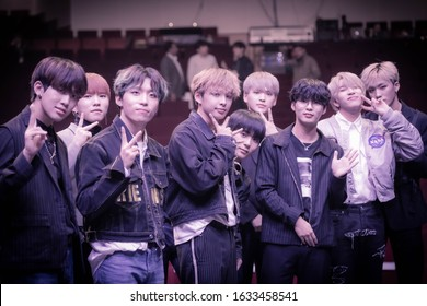 Salmiya Kuwait - October 27 2019: Backstage exclusive photoshoot for S. Korean Kpop D-Crunch.  The event was held by the South Korean Embassy in Kuwait at AbdulHussain AbdulRedha Theater in Salmiya