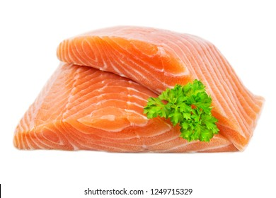 Salmon against white background