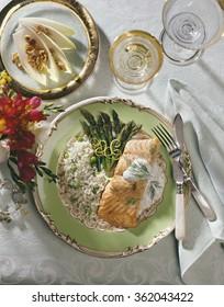 Salmon and asparagus.