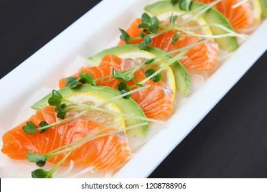 salmon avocado carpaccio