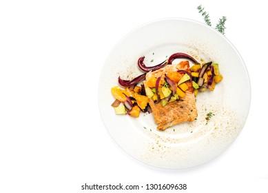 salmon with avocado mango radicchio and orange - isolated