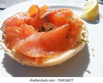salmon bagel sandwich with lemon
