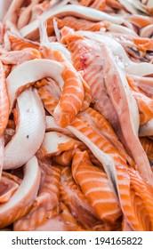 Salmon bellies close-up