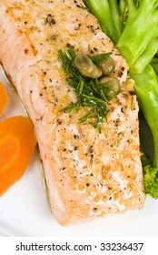 Salmon with Caper and Dill Sauce