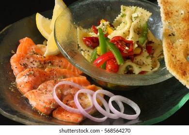 Salmon Carpaccio and Farfalle vegetable salad