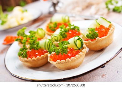 salmon caviar with butter, caviar and tartalets, stock photo