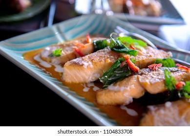 Salmon chili basil curry