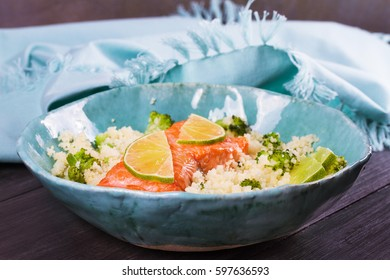 Salmon with Cous Cous, Broccoli and Lime