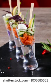 Salmon and cucumber mix catering
