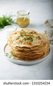 Salmon dill pancakes