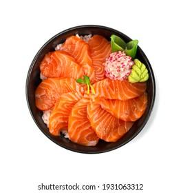 Salmon Donburi Japanese Food style decorate carved radish vegetales topview