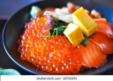 Salmon and Salmon eggs Donburi, Japanese food