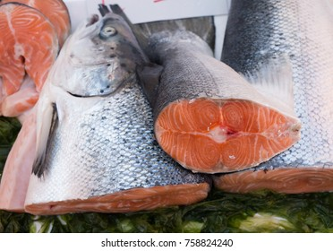 Salmon exposed at seamarket in Naples, Italy